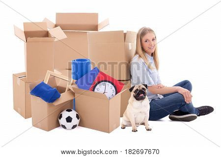 Young Woman Ready For Moving Day Isolated On White