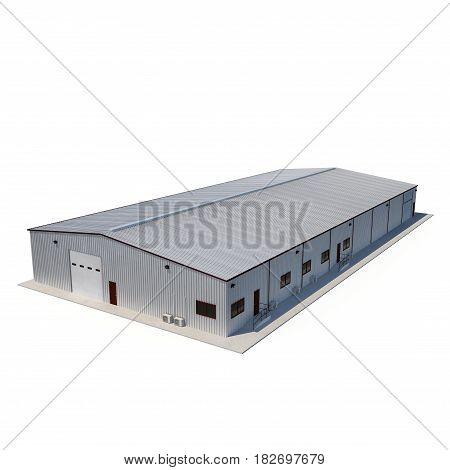 Office and Storage Warehouse Building on white background. 3D illustration