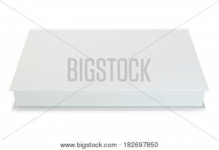 Blank book cover template isolated on white background with soft shadows.