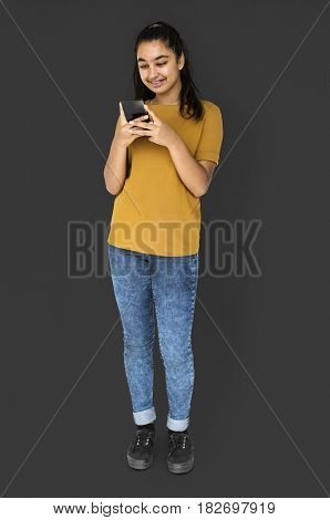 Woman using smart phone device for connection