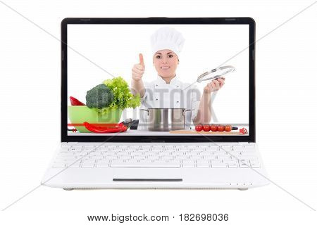 food video blog concept - laptop with video blogger on screen isolated on white background