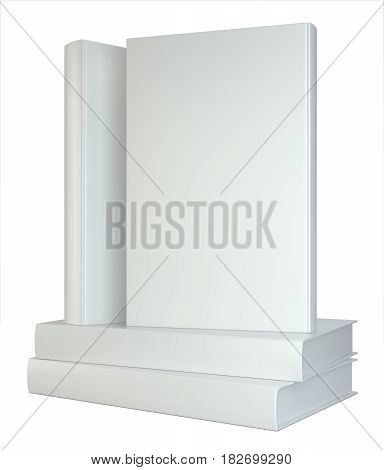white books stack isolated on white background. 3d rendering.