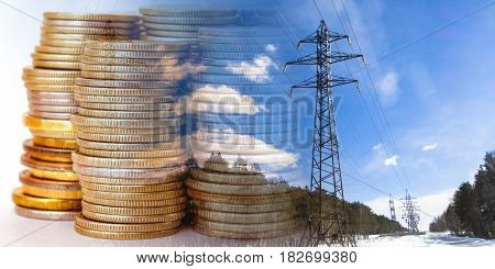 Electrical network on a background of money . The concept of raising electricity tariffs