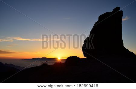 Beautiful sunset from summit of Gran canaria, Canary islands