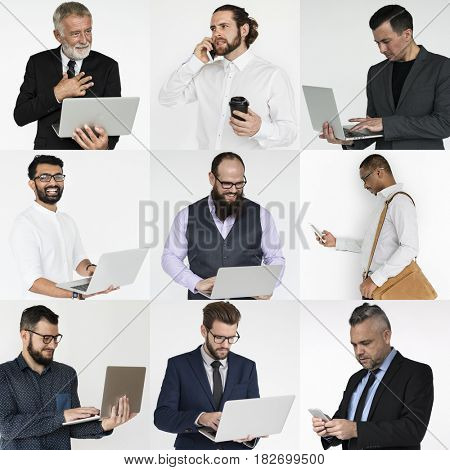 Collages diverse male people business commercial