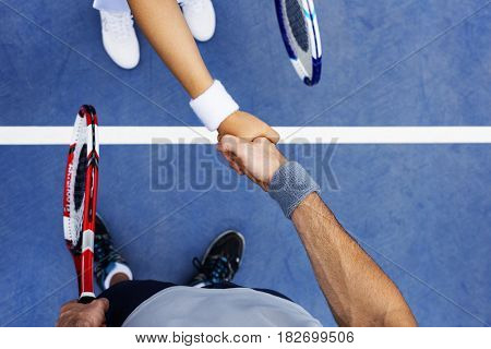 Tennis Trainer Handshake Athlete Coaching Concept