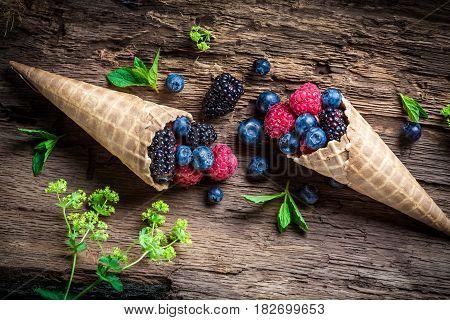 Closeup Of Fresh Berry Fruits Ice Cream In Waffels