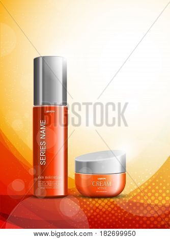 Skin moisturizer cosmetic design template with red realistic packages on wavy dynamic light lines and halftone background. Vector illustration