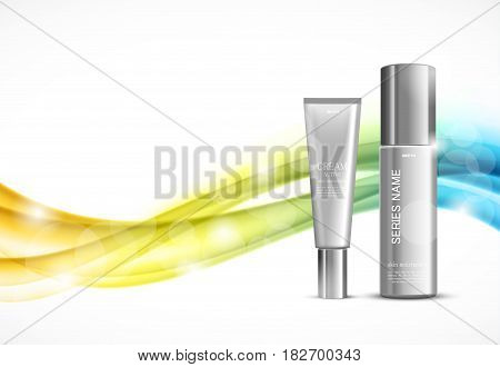 Skin moisturizer cosmetic ads template with gray realistic bottles on colorful bright wavy soft elegant lines background. Vector illustration
