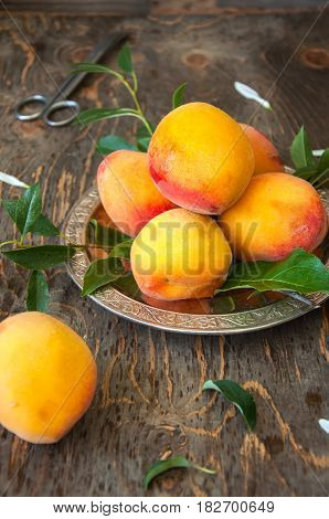 Close Up Of Fresh Ripe Velvet Mellow Honeyed Peaches  With Leaves And Water Drops In A Vintage Bowl