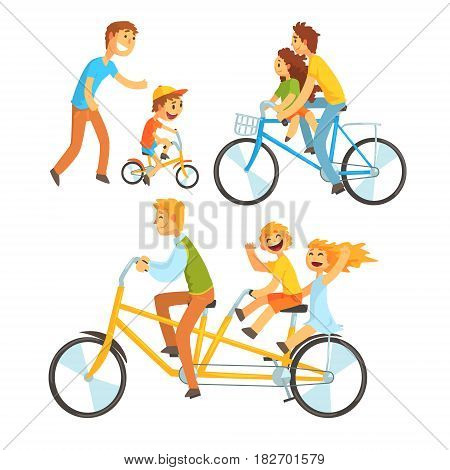 Father riding his children on a bicycle, set for label design. Father teaching his son to ride a bike. Colorful cartoon detailed Illustrations isolated on white background