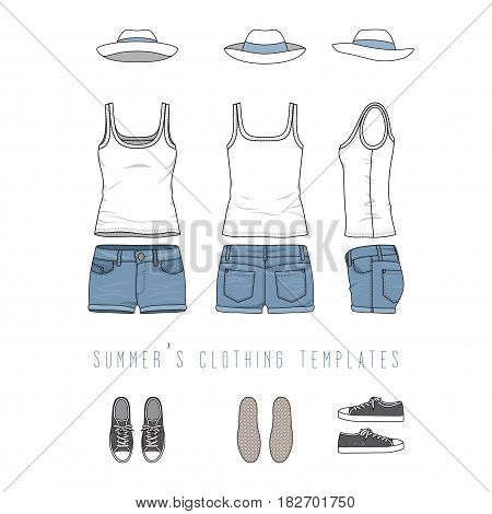 Vector illustration of female clothing set - white basic top, jeans shorts, panama hat, sneakers. Blank vector templates in front, back, side views for fashion design. Isolated on white background.