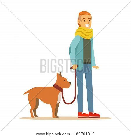 Young man holding a dog on a leash. Colorful cartoon character Illustration isolated on a white background