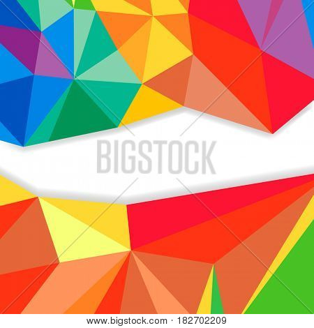 Triangular abstract background, crystal colorful shapes border with shadow.