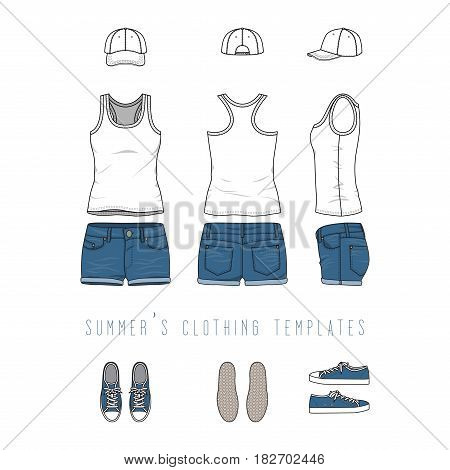 Vector illustration of female clothing set - white tank top, jeans shorts, baseball cap, sneakers. Blank vector templates in front, back, side views for fashion design. Isolated on white background.
