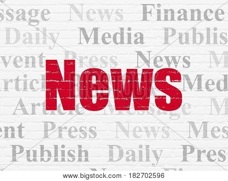 News concept: Painted red text News on White Brick wall background with  Tag Cloud