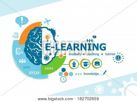 Online E-learning Related Words And Brain Concept. Infographic Business.