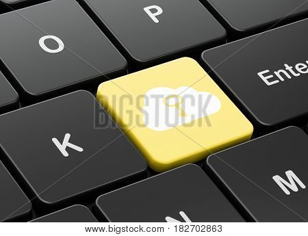 Cloud technology concept: computer keyboard with Cloud With Key icon on enter button background, 3D rendering
