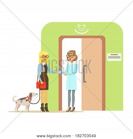 Woman holding a dog on a leash in veterinary clinic. Colorful cartoon character Illustration isolated on a white background