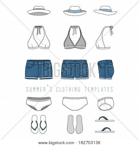 Vector illustration of female beach clothing set - bikini swimwear, jeans shorts, hat, footwear. Blank vector templates in front, back, side views. Isolated on white background.