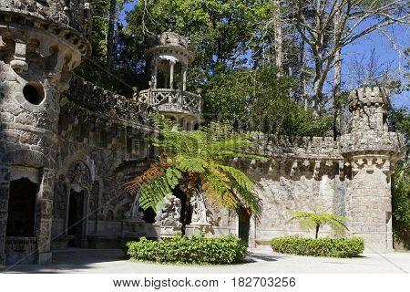 Sintra, Portugal, April 7, 2017 : Quinta Da Regaleira Gardens. The Property Consists Of A Romantic P