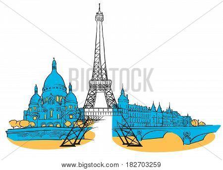 Paris France Colored Panorama