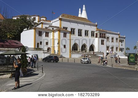 Sintra, Portugal, April 7, 2017 : The Palace Of Sintra, For A Long Time The Residence Of Royal Famil
