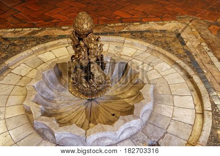 Sintra, Portugal, April 7, 2017 : Detail In The Palace Of Sintra, For A Long Time The Residence Of R