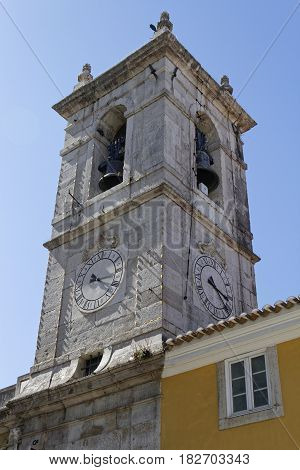 Sintra, Portugal, April 7, 2017 : Clock Tower In Sintra. The City Is Known For Its Many 19Th-century