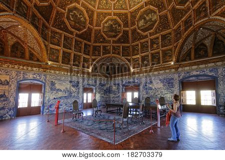 Sintra, Portugal, April 7, 2017 : A Room In The Palace Of Sintra, For A Long Time The Residence Of R