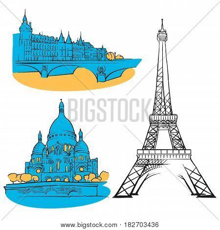 Paris France Colored Landmarks