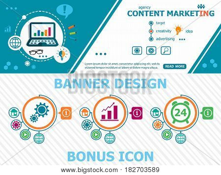Content Marketing And Abstract Cover Header Background For Website Design.