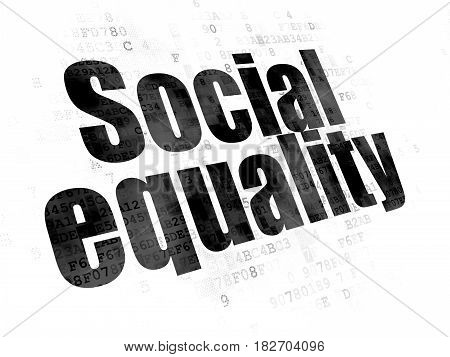 Politics concept: Pixelated black text Social Equality on Digital background