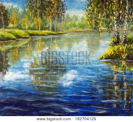 Original oil painting on canvas. Beautiful green forest reflected in water landscape. Modern impressionism art. Plein air rural birch trees reflected in water - Modern impressionism painting.
