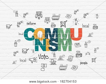 Politics concept: Painted multicolor text Communism on White Brick wall background with  Hand Drawn Politics Icons