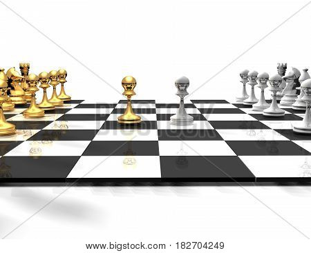 3D Chessboard With Chess.business Concept. Rendered Illustration