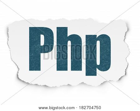 Programming concept: Painted blue text Php on Torn Paper background with Scheme Of Binary Code