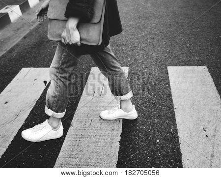 Asian Guy Casual Walking Sidewalk