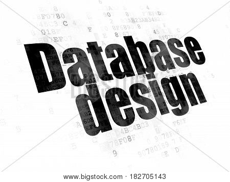 Software concept: Pixelated black text Database Design on Digital background