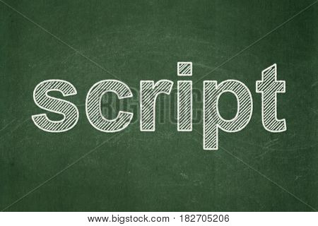 Programming concept: text Script on Green chalkboard background