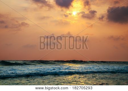 Sunset Over The Waters Of The Indian Ocean.