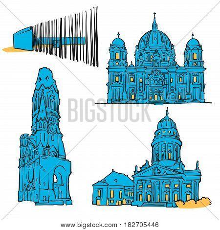 Berlin Germany Colored Landmarks
