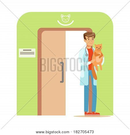 Veterinary doctor holding a cat in his hand. Veterinary clinic interior. Colorful cartoon character Illustration isolated on a white background
