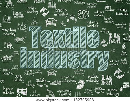 Manufacuring concept: Chalk Blue text Textile Industry on School board background with  Hand Drawn Industry Icons, School Board