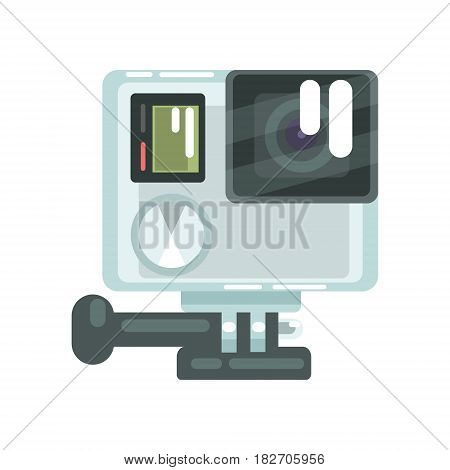 High definition photo video go camera pro action. Colorful cartoon vector Illustration isolated on a white background
