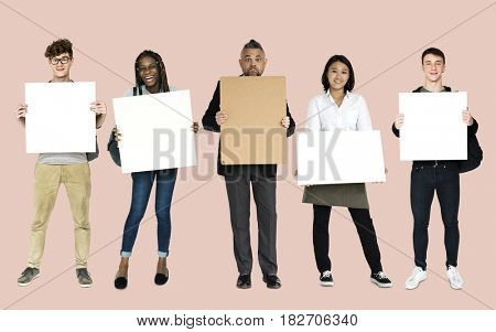 Adult People Hold Blank Paper Board Copy Space Studio Portrait