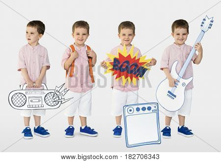 Young Boy with Paper Craft Art Work Studio Portrait Isolated