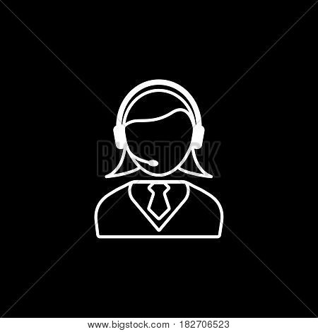 Online consulting line icon, seo and development, female operator sign, a linear pattern on a black background, eps 10.