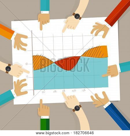 line area overlapping chart. hand drawing sketch analysis. team member together working discuss in a meeting hands pointing to paper vector