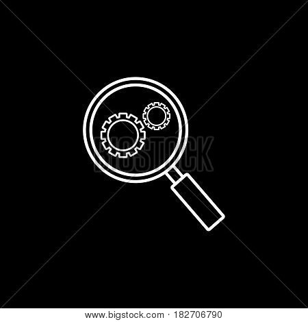 Research optimization line icon, seo and development, Magnifier with cog, a linear pattern on a black background, eps 10.